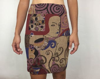 Vtg 80s avant garde klimt like metallic novelty mini skirt body con