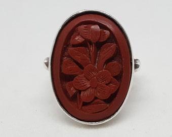"Vintage Sterling Cinnibar Ring, Size 5, Carved Oval Cinnibar Stone, Stamped ""Sterling"""