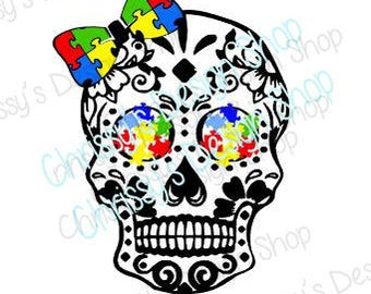 Autism awareness skull svg / autistic awareness svg  / shaggy skull svg / skull drawing / dxf / eps / autism clip art / vinyl crafting