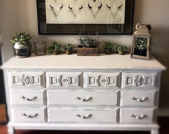 BEAUTIFUL  White Unique Rustic/ Vintage Shabby Chic French Provincial  Bedroom Dresser /Buffet/ Baby Changing Table/French Dresser/Baby Chan