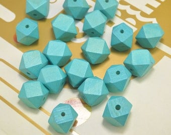 Faceted Geometric Wood Beads,20pcs Hand Painted beads,20mm Aqua Green wooden bead ,Geometric wooden beads for necklace/bracelet Jewelry