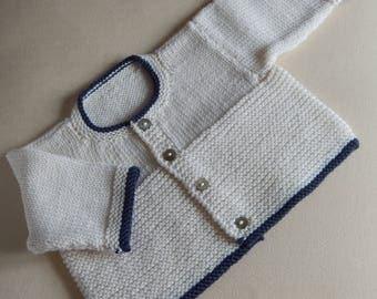 Baby Cardigan newborn - hand knitted in baby merino wool, cream and navy