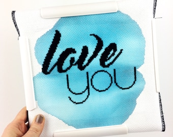 Love you // Modern cross stitch mini kit with hand painted fabric // Mini Kit, Quick Project, Wedding Gift, Anniversary, DIY, Typography