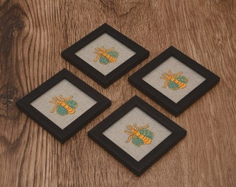 Wooden Coasters - Bumblebee Embroidered Patch Coasters - 4.2in Coasters - Coasters Set of 4