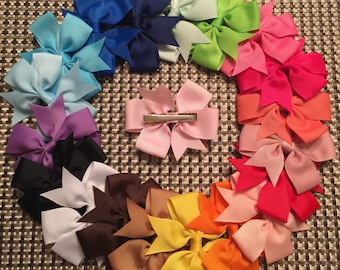 "Sale!!!Lot of 20 Hair bows, 3"" hair bows, girl hair bow, baby hair bows, hair accessories, grosgrain ribbon clips"