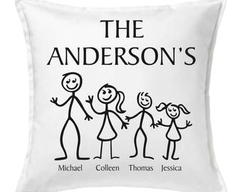 Personalised Stick Family Cushion