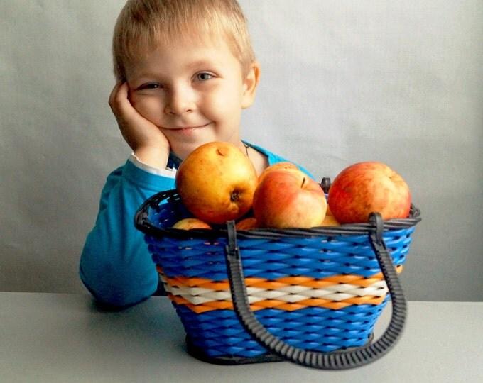 Vintage wicker basket - Small, blue plastic basket - Children wicker basket - Christmas gift - Vintage USSR