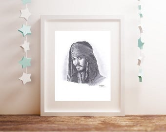 JACK SPARROW Johnny Depp Pirates Carribean Limited Edition art drawing pencil print A4/A3 sizes available and note card greetings card