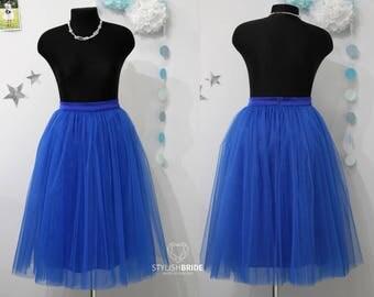 44 Royal Blue Tulle Skirt Casual Women's, Blue Tulle Skirt Bridal, Princess Women Tulle Skirt, Princess Skirt, Wedding Tulle Skirt