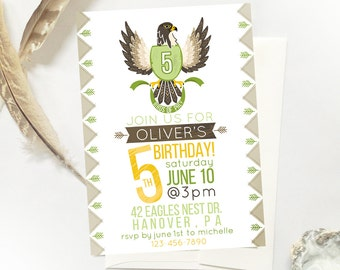 Falcon Birthday Party Invite, Birds of Prey Birthday Party, DIY Printable Invite Birds