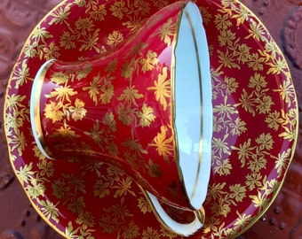 Stunning Red and Gold Aynsley Corset Teacup and Saucer