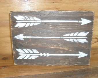 Arrows Painted on Reclaimed Wood Block Rustic Decor Shabby Chic Shelf Sitter