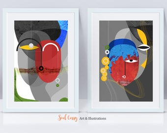 Primodial - Series of 2 Art Prints , bold, powerful, colorful, contemporary, abstract faces, modern art for the home