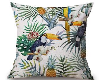 Housse de coussin déco toile de lin et coton beige JUNGLE   Décoration d'intérieur  Salon & Chambre   Design Scandinave    Palmier perroquet