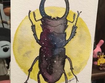 Galaxy Beetle - 4 x 6 Original Watercolor Painting