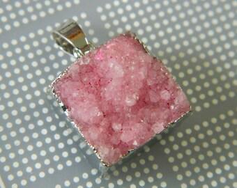 17MM Square Cotton Candy Pink Quartz Druzy Pendant - Silver Foil Wrapped Druzy Geode Pendant DQ2