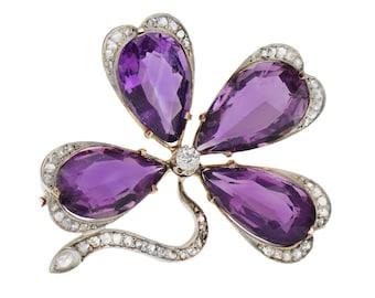 Antique Amethyst Brooch Four Leaf Clover Diamonds Edwardian Flower Larlge Rose Gold Vintage Estate 4 Leaf Clover Luck Pin || 17829
