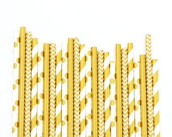 GOLD FOIL Straws | New Years Eve Straws | Gold Straws | Gold Wedding Decor | Bridal Shower | Birthday | Bachelorette Party Straws | GOLD