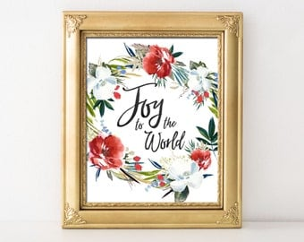 Joy to the World Christmas Printable Wall Art Religious Christmas Print Joy to the World Christmas Decor Watercolor Christmas Wreath Print