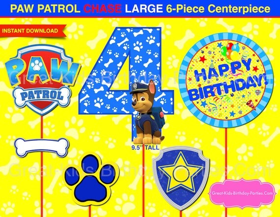 Paw patrol centerpiece chase number 4 dark blue paw patrol for Number 4 decorations