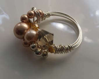 Silver Wire Wrapped Crystal and Pearl Ring