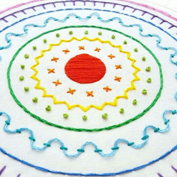 Embroidery kit diy modern sampler hand pattern