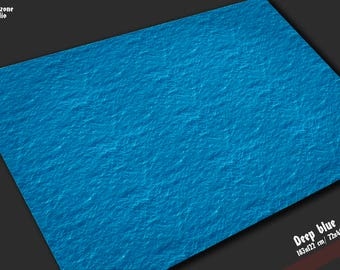Battle mat: Deep Blue -  water terrain for fleet miniature battleboard wargames Dystopian Wars, Warhammer, Spartan Games sea ocean all sizes