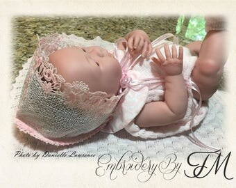 Baby Bonnet lace -FSL / two sizes - 0-3 and 3-6 months/ 5x7 hoop / machine embroidery design