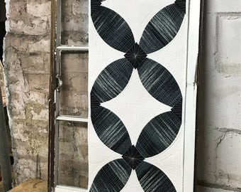"Made to Order:  Black and White Modern Quilted Table Runner  14 1/2"" x 43 1/2"""