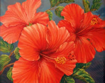 Red Hibiscus Bead Art Picture Kit