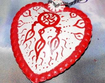 red heart Dreamcatcher hippie Necklaces Pendants