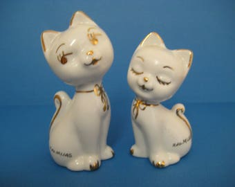 Vintage White Cat Figurines with Gold Highlights