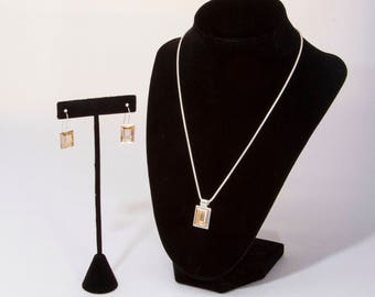 Swarovski®  Fancy Crystal Necklace Set, Sterling Silver Chain, Coordinated Ear Wires, Emerald Cut, Golden Shadow Stone, Silver Ear Wire