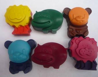 lion bear hippo zoo animal novelty handmade wax crayons x 6