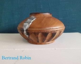 Small turned wood vase