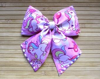 Big Pink Unicorn Bow with Tails, Big Unicorn Dance Bow, Big Hair Bows