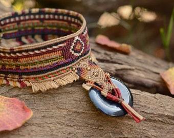 Handmade tribal choker Macrame Necklace with Black Agate stone, nativeamerican style, wild jewelry, spiritual, tribaljewelry, ethnic