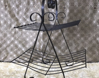 black wire stand Vintage  metal stand, mid century, magazine rack, magazine stand, magazine holder, newspaper stand, book stand