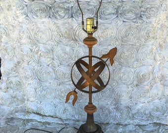 Vintage Lamp, Armillary, Sphere, Table Lamp, vintage, lamp, light, mid century, home decor, accents, weathervane, brass and wood