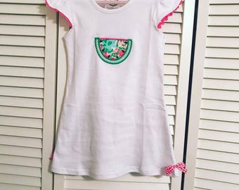 Baby infant toddler girls monogrammed southern charm watermelon dress