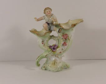 RARE! Unusual German Cornucopia Style Hand Decorated Porcelain Vase With Young Boy Figure.