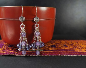 Amethyst and Swarovski Silver Earrings E 063