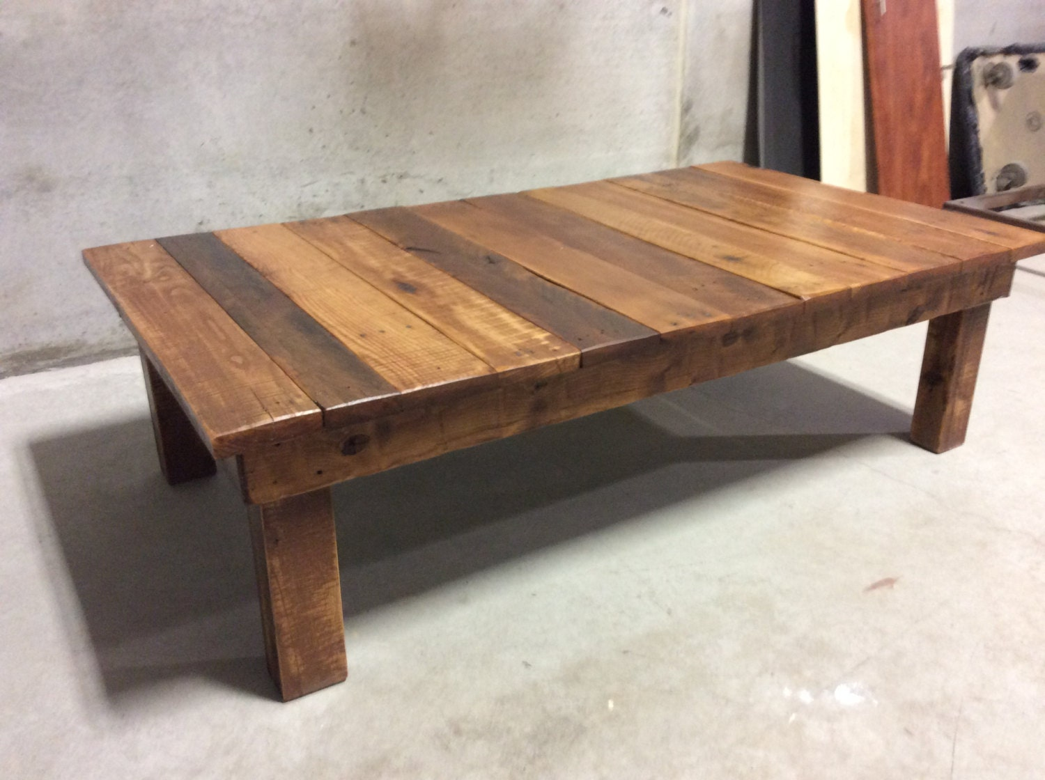 Large reclaimed wood coffee table for Reclaimed coffee table