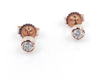 Diamond Solitaire Earrings, Minimalist Earrings, Brilliant Cut 0.50 Ct. (0.25 Ct x 2), Dainty Diamond Bezel Set Earrings