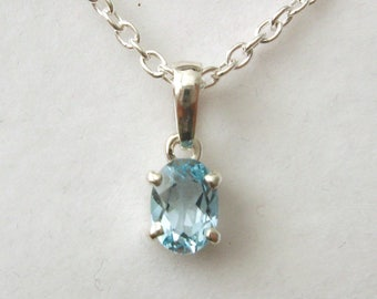 Genuine SOLID 925 STERLING SILVER March Birthstone Aquamarine Pendant
