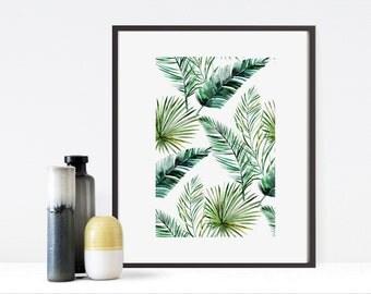 Watercolour palm leaf print - palm print - palm leaf print - palm tree - botanical print - tropical poster - botanical art