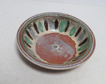 Antique Primitive Old Hand Made Ceramic Cup Plate