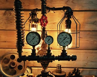 Pipe Lamp Steampunk Style Vintage