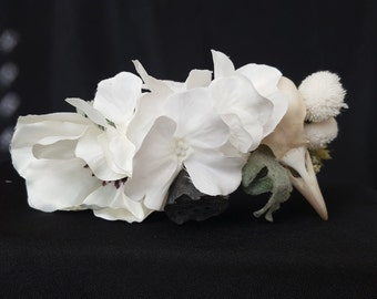 Bird Skull Flower Crown - White - Poppy/Hydrangea/Cotton/Lotus - Wedding - Halloween - Dia de los Muertos- Goth - Macabre - Oddity- Festival