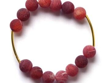 Dragons Vein Agate bracelet - Elastic Stretch Bracelet - gemstone bracelet - gemstone jewelry - red and gold bracelet - gold plated tubes